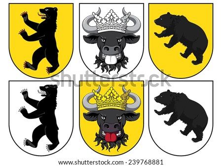 Coat of arms - bull and bears - stock vector