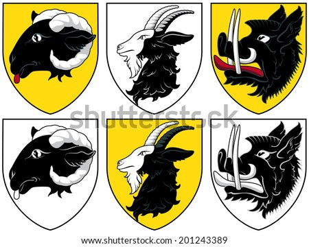 Coat of arms - cattle - stock vector