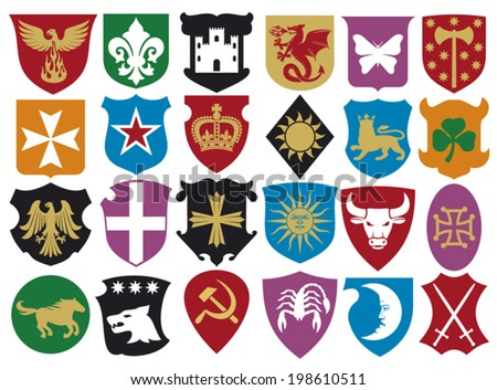 coat of arms collection (set of heraldry shields,  heraldic design, heraldic set, heraldic design elements) - stock vector