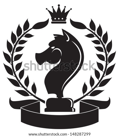 coat of arms depicting a chess knight - stock vector