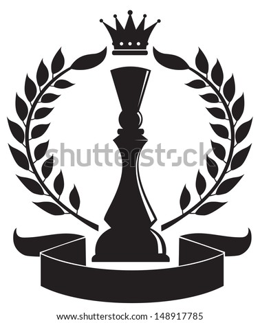 coat of arms depicting a Chess Queen - stock vector
