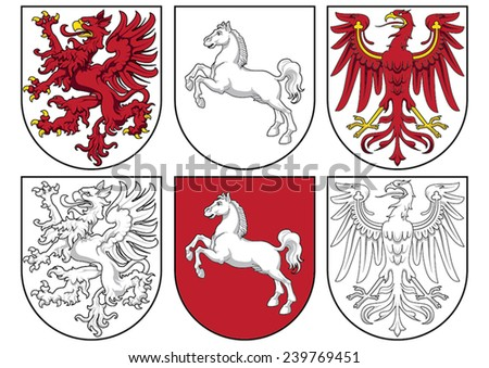 coat of arms - griffin, horse, eagle - stock vector