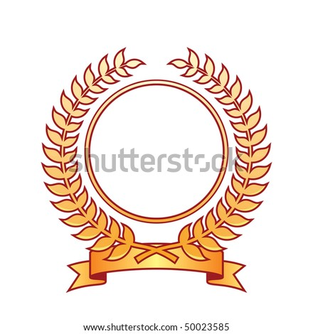 Coat of arms located on a white background. It consists of a wreath and ribbon. In the center of the emblem, empty place. - stock vector