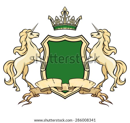 Coat of arms logo template. Unicorns with shield and crown. Heraldic royal, insignia element, ornate logo horse, vector illustration - stock vector