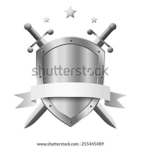 Coat of arms metal shield with two crossed knight swords and stars above its isolated on white background - stock vector
