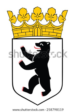 Coat of arms of Berlin state and city in Germany. Original and simple flag isolated vector in official colors and Proportion Correctly, vector illustration isolated on white background. - stock vector