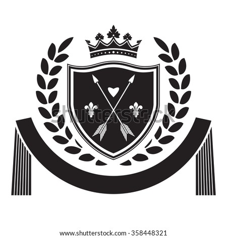 Coat of arms - shield with crown, arrows, laurel wreath at the sides. Based on and inspired by old heraldry. - stock vector