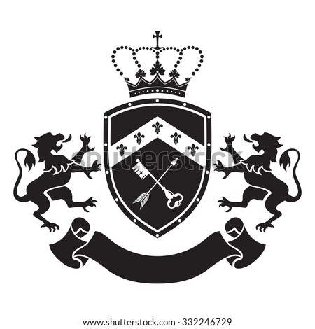 Coat of arms - shield with crown, key and arrow, two standing lions at sides. Based on and inspired by old heraldry. - stock vector