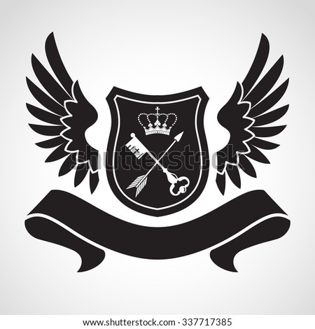 Coat of arms - shield with crown, key and arrow, two wings at sides. Based on and inspired by old heraldry. - stock vector