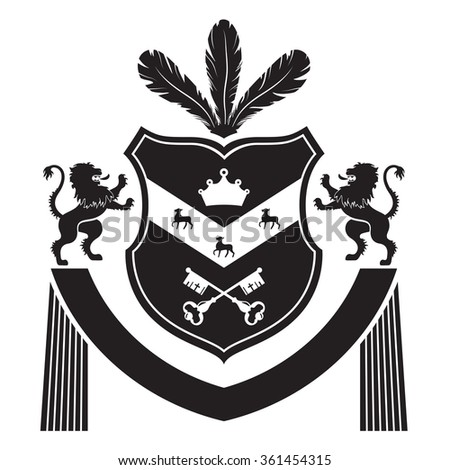 Coat of arms - shield with feathers, crown, three deers, two lions at the sides. Based on and inspired by old heraldry. - stock vector