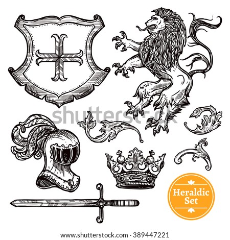 Coat of arms symbols black icons set with heraldic animals and knights weapon doodle vector isolated illustration  - stock vector
