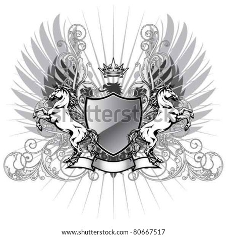 Coat of arms with horse - stock vector