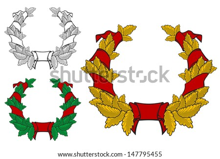 Coat of arms with ribbons in vintage style for heraldry and sport design or idea of logo. Jpeg version also available in gallery - stock vector