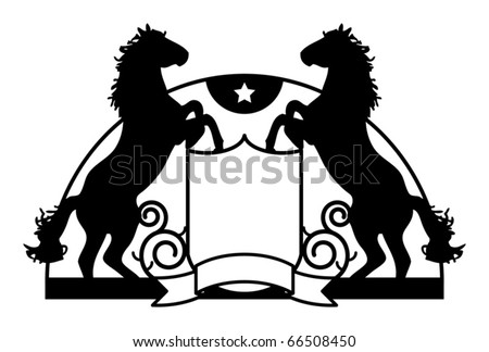 Coat of arms with stylized horse, vector illustration - stock vector