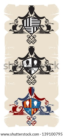 Coat of arms with the Greek galleys, 5, vector - stock vector