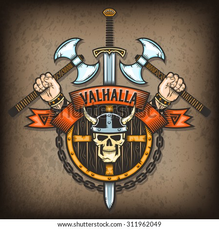 Coat of Valhalla. Vikings sign with a skull in a horned helmet on the background of the shield with axes and hand. All textures are on separate layers. - stock vector