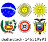 Coats of Arms of South America Flags - stock