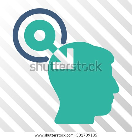 Cobalt And Cyan Brain Interface Plug-In interface pictogram. Vector pictograph style is a flat bicolor symbol on diagonal hatch transparent background.