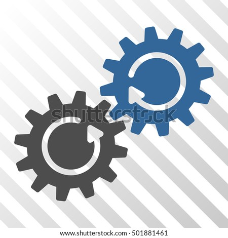 Cobalt And Gray Gear Mechanism Rotation interface toolbar icon. Vector pictograph style is a flat bicolor symbol on diagonal hatch transparent background.