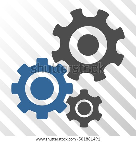 Cobalt And Gray Gear Mechanism toolbar icon. Vector pictograph style is a flat bicolor symbol on diagonal hatch transparent background.