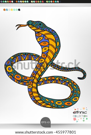 Cobra .Animal patterns with hand-drawn doodle waves and lines. Vector illustration in bright colors.
