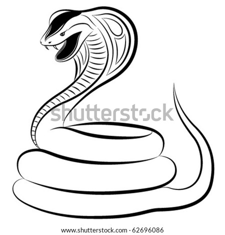 Cobra in the form of a tattoo - stock vector