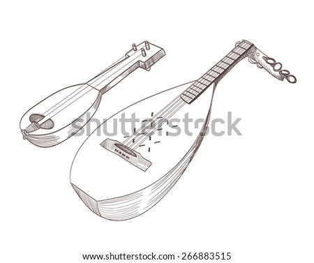 cobza musical stringed instruments drawing - stock vector