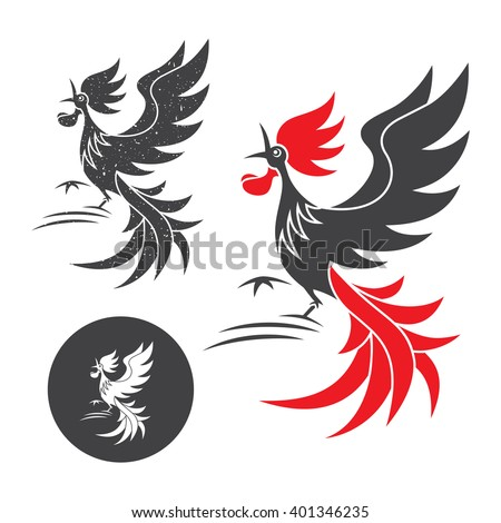 Cock crow. Vector silhouette of the rooster on white and black background. - stock vector