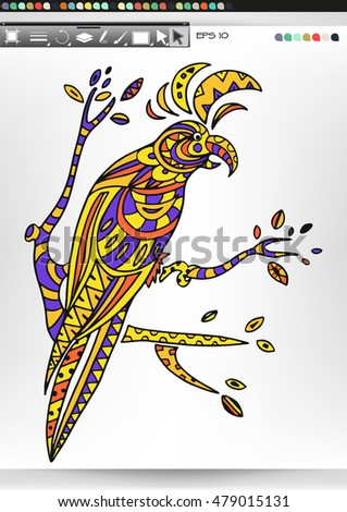 Cockatoo. Animal patterns with hand-drawn doodle waves and lines. Vector illustration in bright colors.