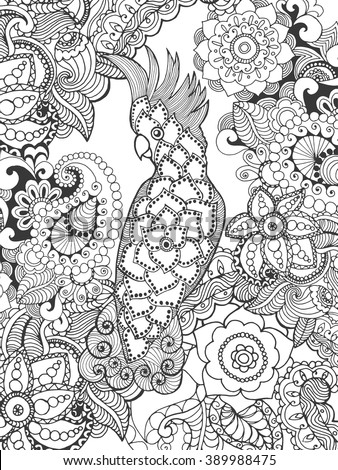 Cockatoo in fantasy flowers. Animals. Hand drawn doodle. Ethnic patterned illustration. African, indian, totem tatoo design. Sketch for avatar, tattoo, poster, print or t-shirt. - stock vector