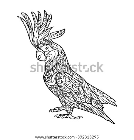 Cockatoo parrot bird coloring book for adults vector illustration. Anti-stress coloring for adult. Zentangle style. Black and white lines. Lace pattern - stock vector