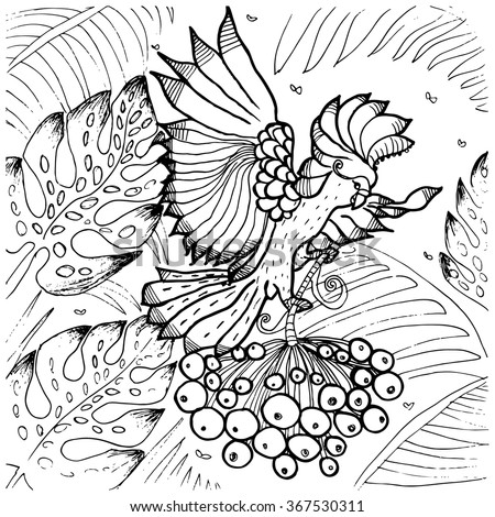 cockatoo parrot coloring page of exotic tropical bird flying among palm tree leaves in jungle forest - Palm Tree Branches Coloring Pages