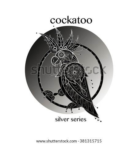 Cockatoo. Vector cockatoo icon in a circle. Concept image of decorative bird. Modern trend - linear design. Illustration cockatoo logo, sign, symbol, object of nature. Series black, white and silver. - stock vector