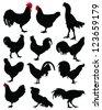 Cockerel and hen silhouettes-vector - stock vector