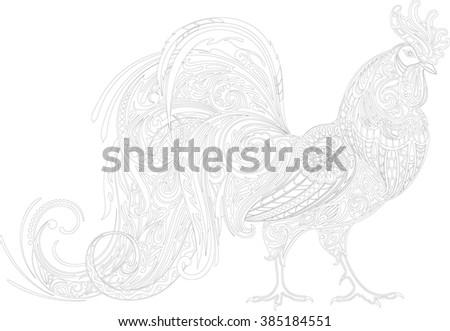 Cockerel, contour - stock vector