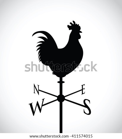 cockerel on a weather post - stock vector