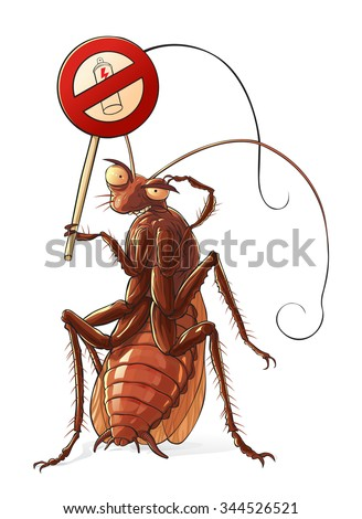 Cockroach  against insecticides  Red cockroach in standing pose with sign a insecticide prohibition.