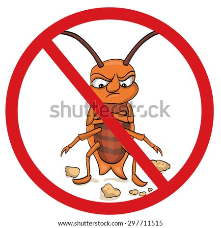 cockroaches prohibited, prohibition sign - stock vector