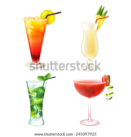 Cocktail alcohol drinks realistic decorative icons set with sex on the beach pina colada mojito strawberry margarita isolated vector illustration - stock vector