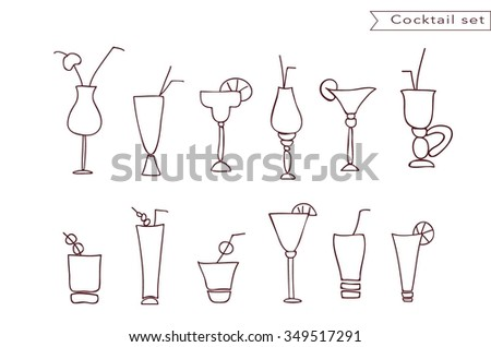 Cocktail and juice glasses line vector icon set. Glasses with straw and umbrella. Wine or vine, vodka, beer  beverages glasses and cups. Different drinks stemware collection.Linear glassware set. - stock vector