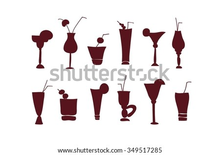 Cocktail and juice glasses silhouette vector icon set. Glasses with straw and umbrella. Wine or vine, vodka, beer  beverages glasses and cups. Different drinks stemware collection. - stock vector