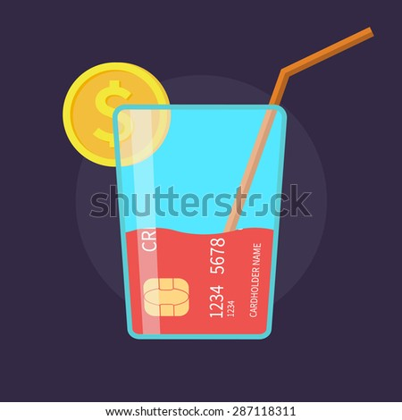 Cocktail as a credit card, waste of money - isolated flat vector illustration. - stock vector