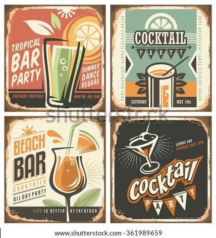 Cocktail bar retro tin sign set. Vector poster templates collection for summer party, bar or restaurant. Cocktail lounge vintage background drawings. Drink and food theme with rusty metal texture.  - stock vector