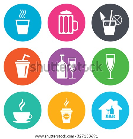 Cocktail, beer icons. Coffee and tea drinks. Soft and alcohol drinks symbols. Flat circle buttons. Vector - stock vector