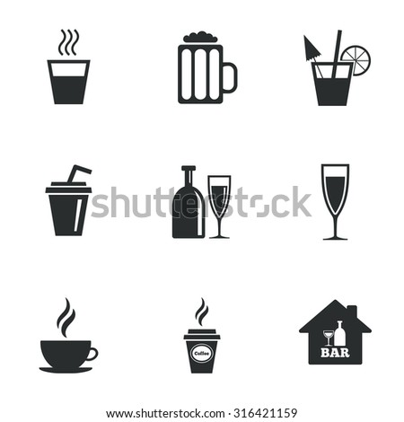 Cocktail, beer icons. Coffee and tea drinks. Soft and alcohol drinks symbols. Flat icons on white. Vector - stock vector