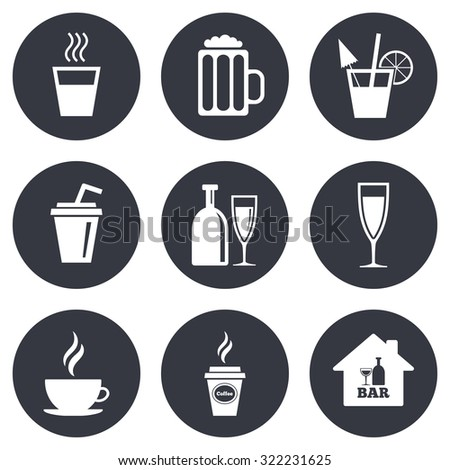 Cocktail, beer icons. Coffee and tea drinks. Soft and alcohol drinks symbols. Gray flat circle buttons. Vector