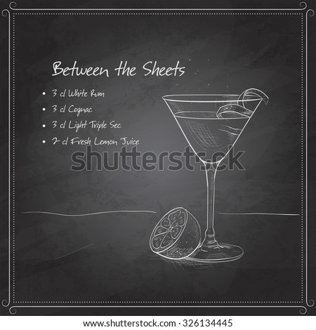Cocktail Between the Sheets on black board with ingredients. Alcohol cocktails theme.