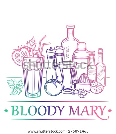 Cocktail Bloody Mary with ingredients ( vodka, tomato juice, lemon, celery, Tabasco sauce, Worcestershire sauce, salt, ground black pepper, ice cubes, tomato ) and barman's instruments - stock vector