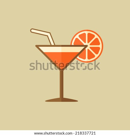 Cocktail. Drink Flat Icon - stock vector