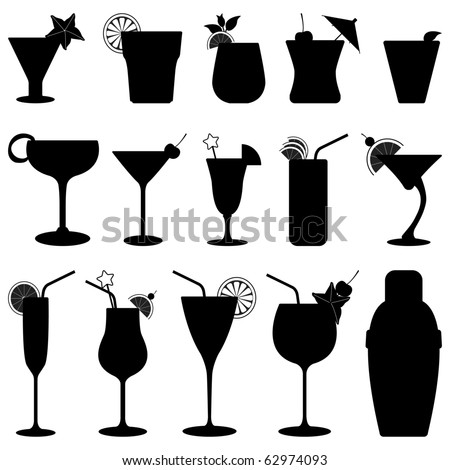 Cocktail Drink Fruit Juice Silhouette - stock vector